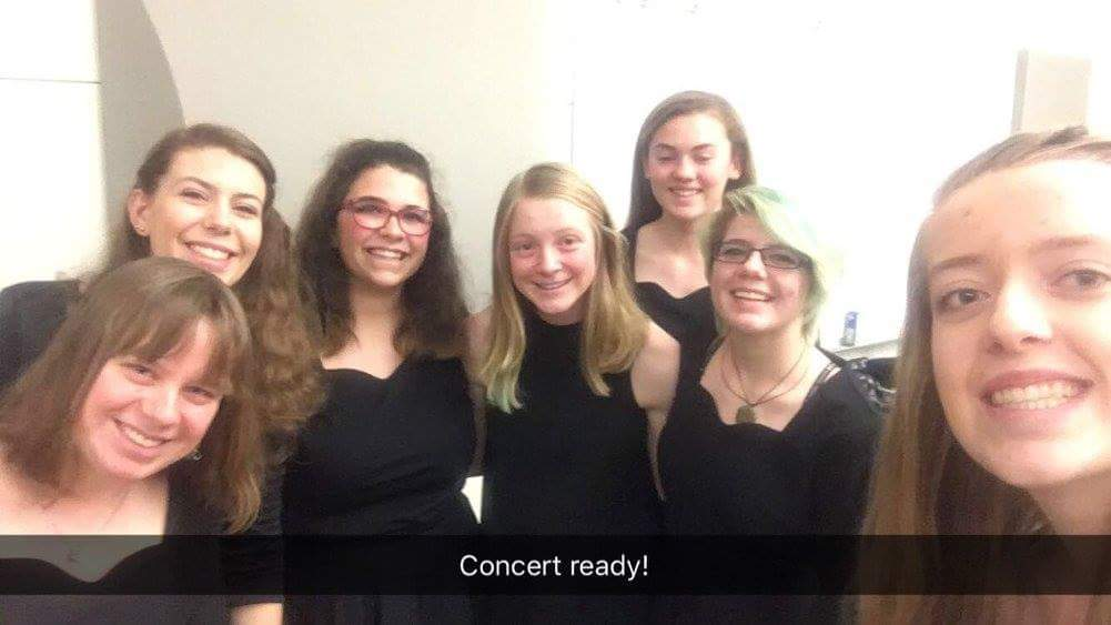 Air Academy students Michelle Jorgensen, Elliana Salter, Bethany Diaz, Izzy Zietlow, Amanda Stephanson, Mackie Pylate, and Samantha Holstine getting ready to perform at the Top of the Nation Honor Band at Adams State College last weekend. Photo courtesy of Samantha Holstine