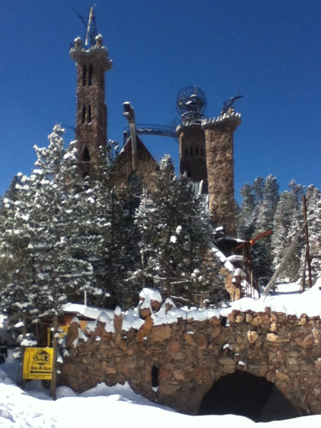 Bishop castle in the snow