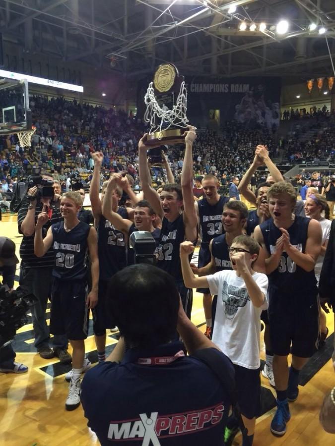 Boys basketball win state! Photo courtesy of Katie Rainsberger.