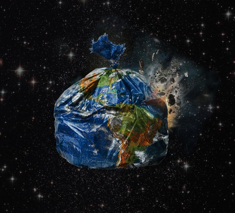 Earth in the galaxy as a trash bag. Photo via www.flickr.com under the Creative Commons license. https://www.flickr.co m/photos/23882161 @N03/galleries/7215 7624975415974/.