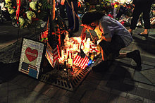 Mourners of the tragedy. Photo via Wikipedia under the Creative Commons license. http://en.wikipedia.org/wiki/Boston_Marathon_bombings.