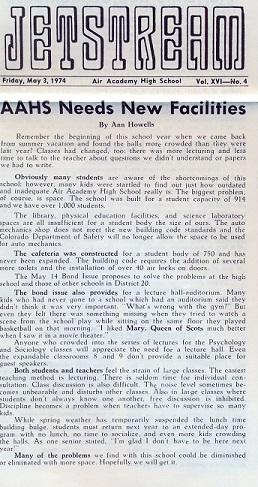 AAHS Needs New Facilities. May 3, 1974
