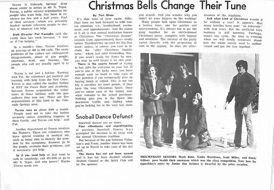 December 15, 1972.  Christmas Bells Change Their Tune- by Teri Olson.