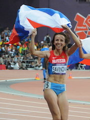 Russian athlete, Mariya Savinova, in the 2012 Olympic Games. Labeled for reuse through wikimedia commons. https://upload.wikimedia.org/wikipedia/commons/0/0e/Mariya_Savinova_-_Womens_800m_-_2012_Olympics.jpg
