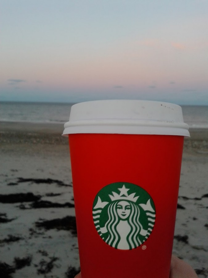 This year's holiday cup from Starbucks. Original photo.