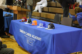 College Sports have early commits that cannot sign until senior year. Photo Via Wikimedia Commons under the Creative Commons License. https://commons.wikimedia.org/wiki/File:20121220_Jabari_Parker_verbal_commitment_press_conference_team_hats.JPG