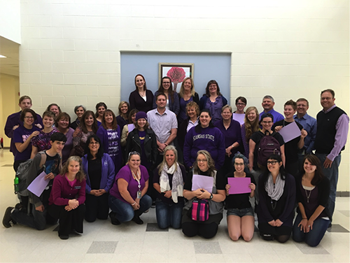 Original Photo of AAHS teachers and students wearing purple in support of anti-LGBT bullying
