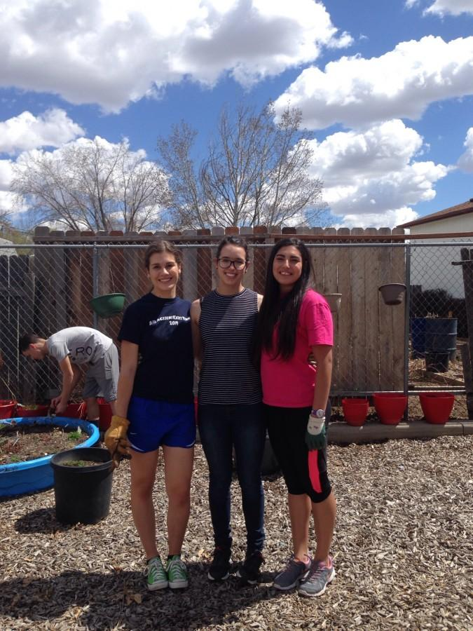 Emily Olson, Helene Busse, and Antonietta Rojas (left to right) at Senior Service Day.