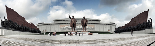 The Mansudae Grand Monument stands in Pyongyang, North Korea in front of the Korean Revolution Museum. Photo used with permission under the Creative Commons License via Flickr