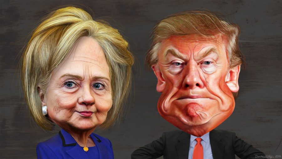 This caricature of Hillary Clinton was adapted from a photo in the public domain from the East Asia and Pacific Medias Flickr photostream. The body was adapted from a photo in the public domain from the U.S. Department of States Flickr photostream. This caricature of Donald Trump was adapted from Creative Commons licensed images from Max Goldbergs flickr photostream.