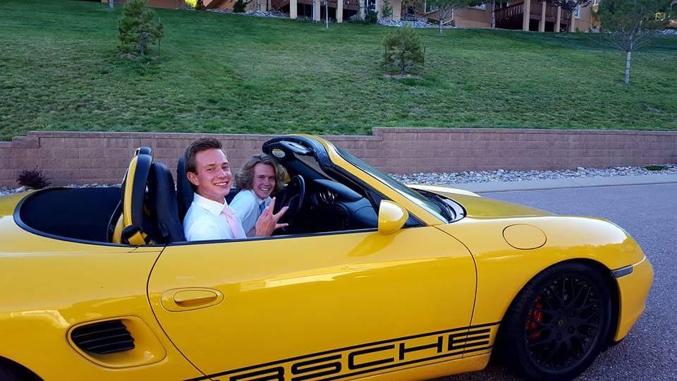 Jonathan Flat and Mathew Mitchelll on their way to homecoming