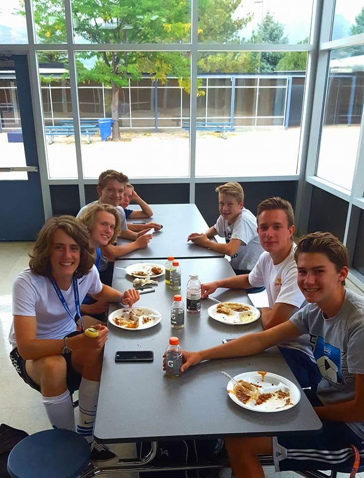 A JV Soccer team dinner