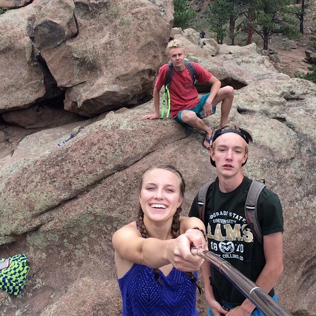 Natalie Sannes, Calvin Yocum, and Luke Negley climbing in Colorado