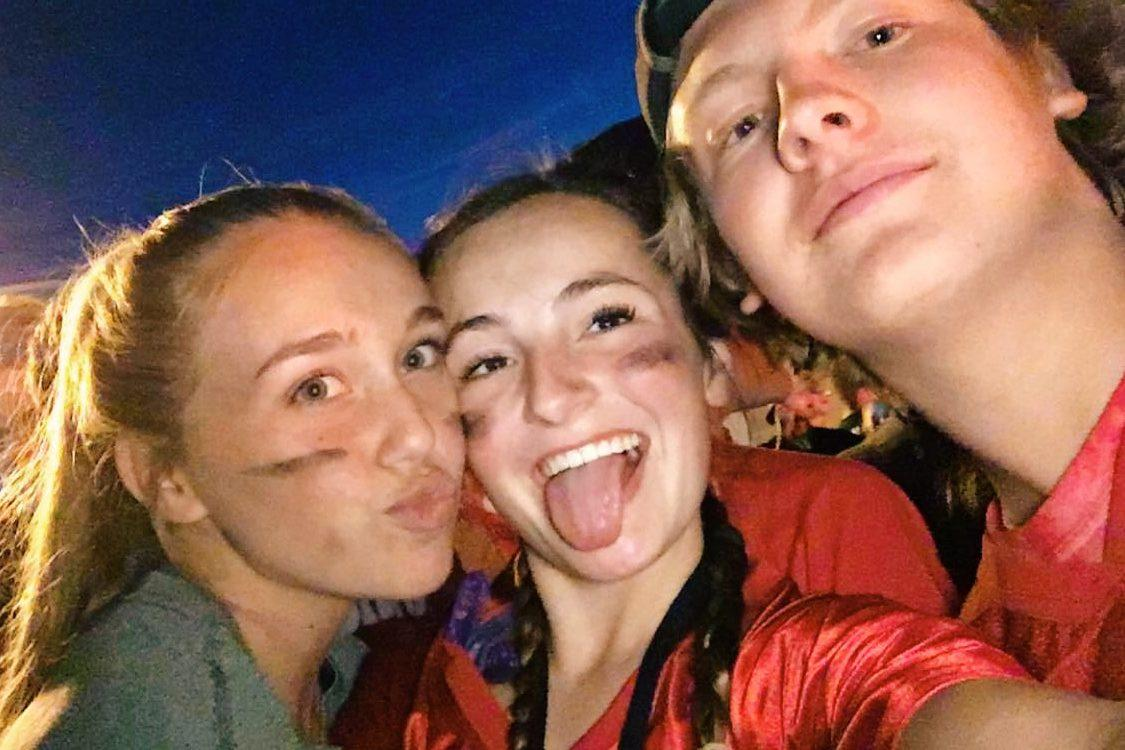 Jessica Cox, Taylor Martinez, and Brody Boice during Air Academy's bonfire