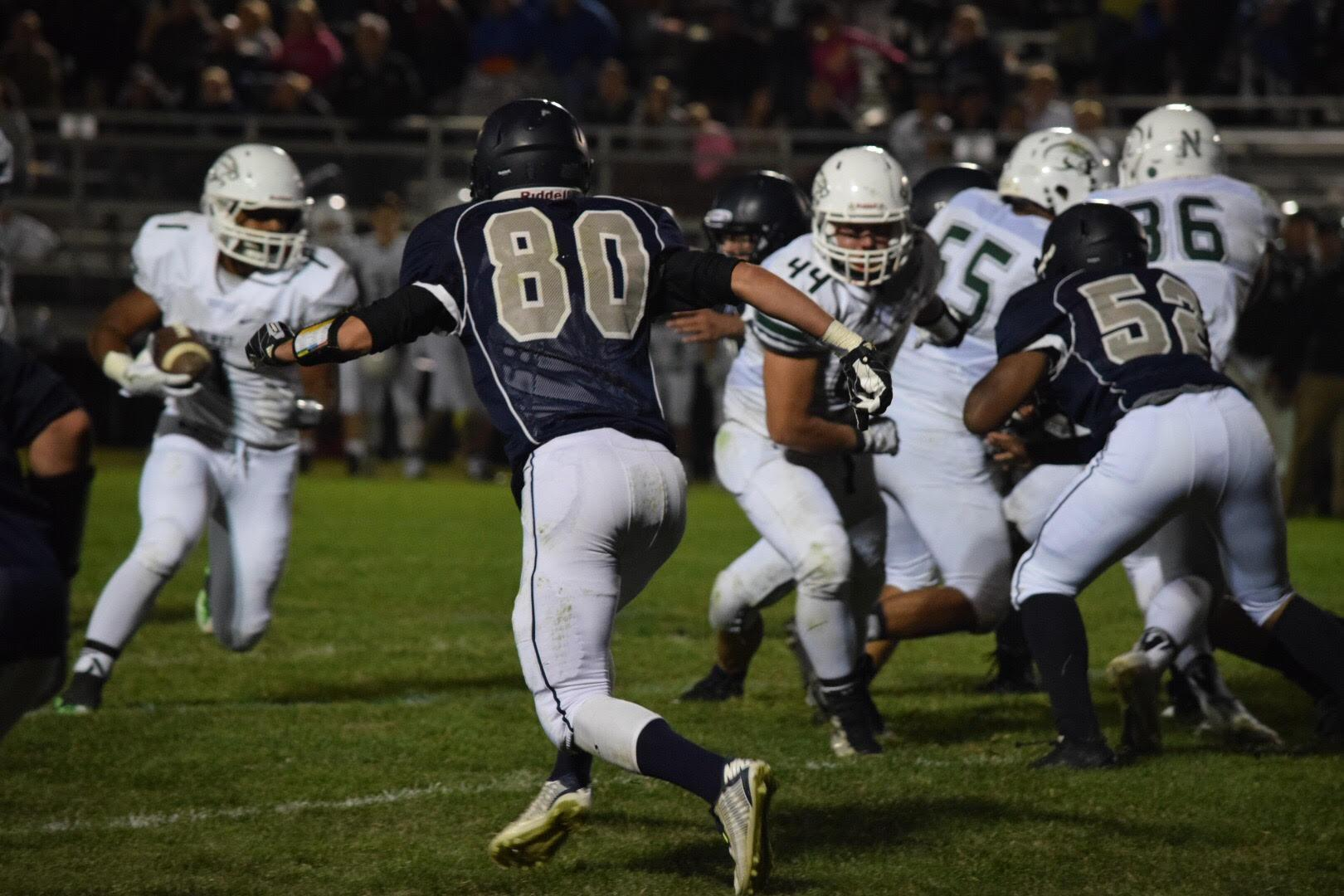 Troyer Morse (#80) working hard in football