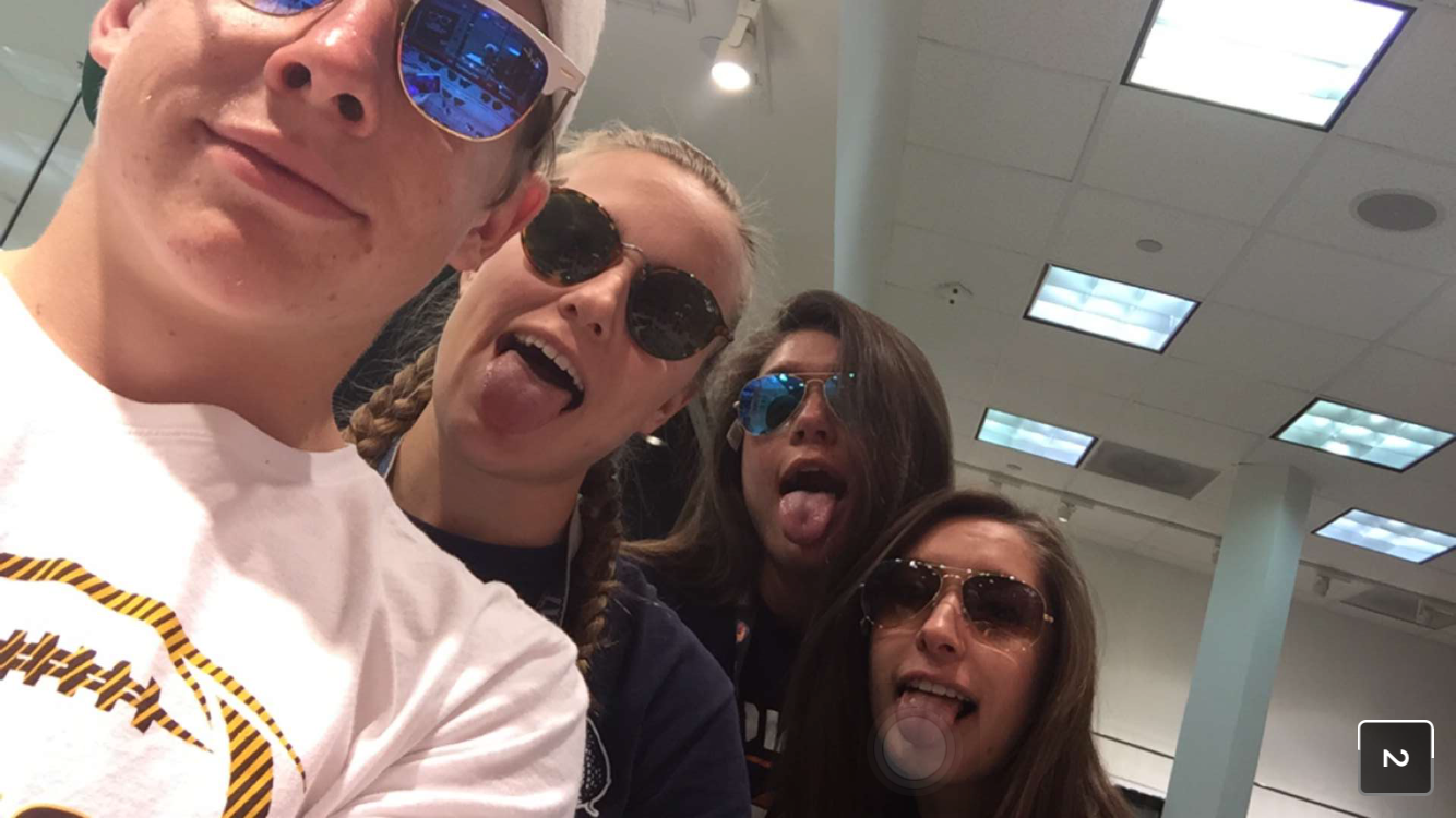 Jake Harper, Natalie Sannes, Kennedy Jameison, and Erin Lindsey wearing cool shades at Air Academy