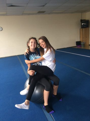 Photo Originally published in the Jetstream in 2019. Julia Helle and Anna Duffy pose in the Yoga Room.