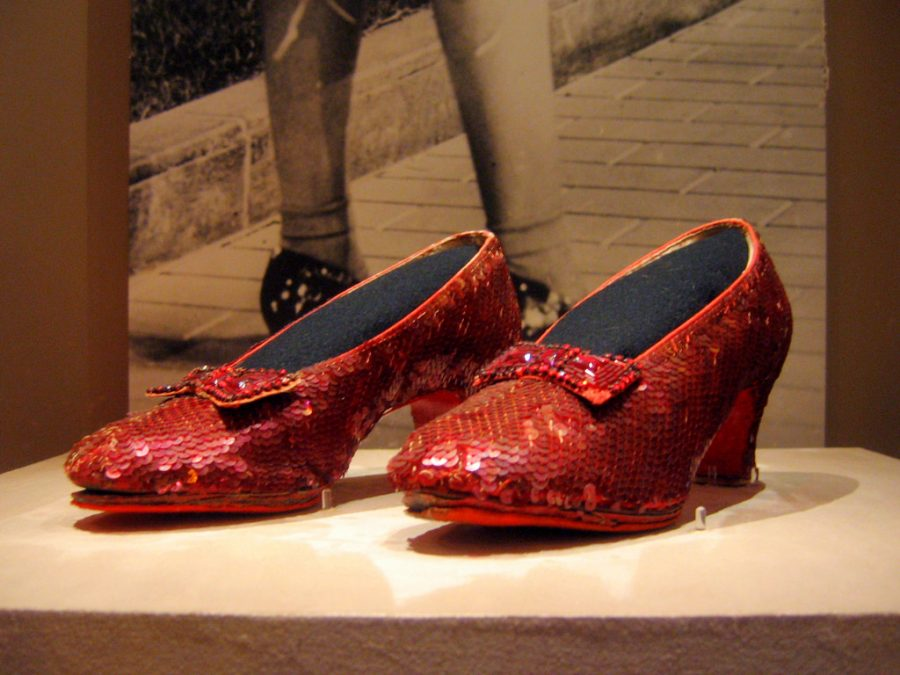 A picture of the Ruby Red slippers worn by Judy Garland in the 1939 film The Wizard of Oz.
