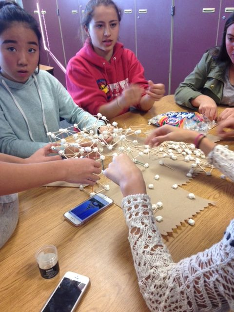 (Photo reuse from 2016) Students in French Club build an Eiffel Tower out of marshmallows and toothpicks as an in-person activity.