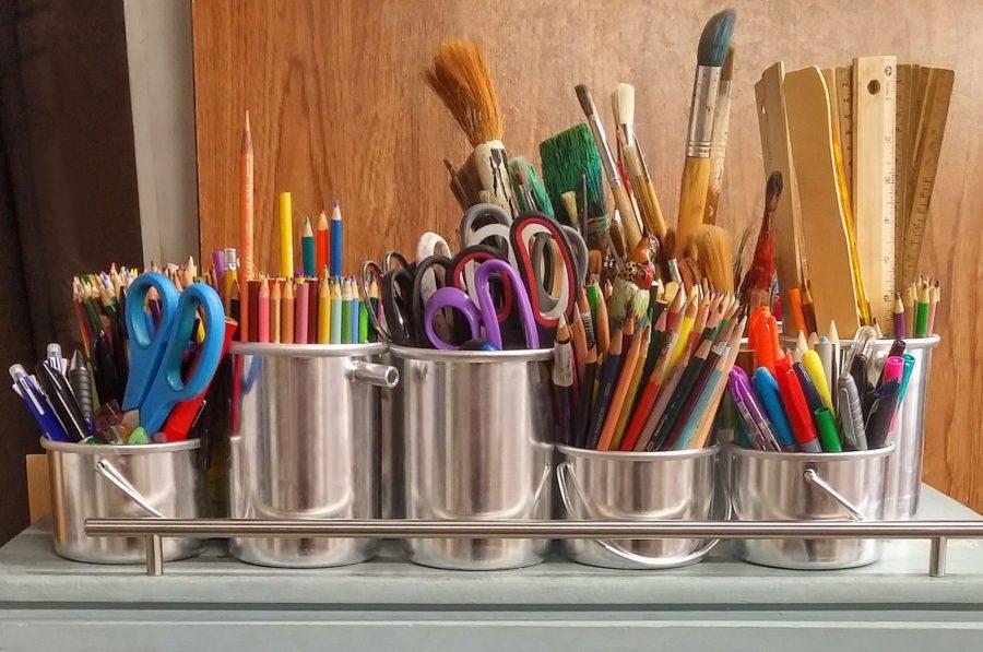 Photo via pexels.com under the Creative Commons Licence.  https://static.pexels.com/photos/159644/art-supplies-brushes-rulers-scissors-159644.jpeg