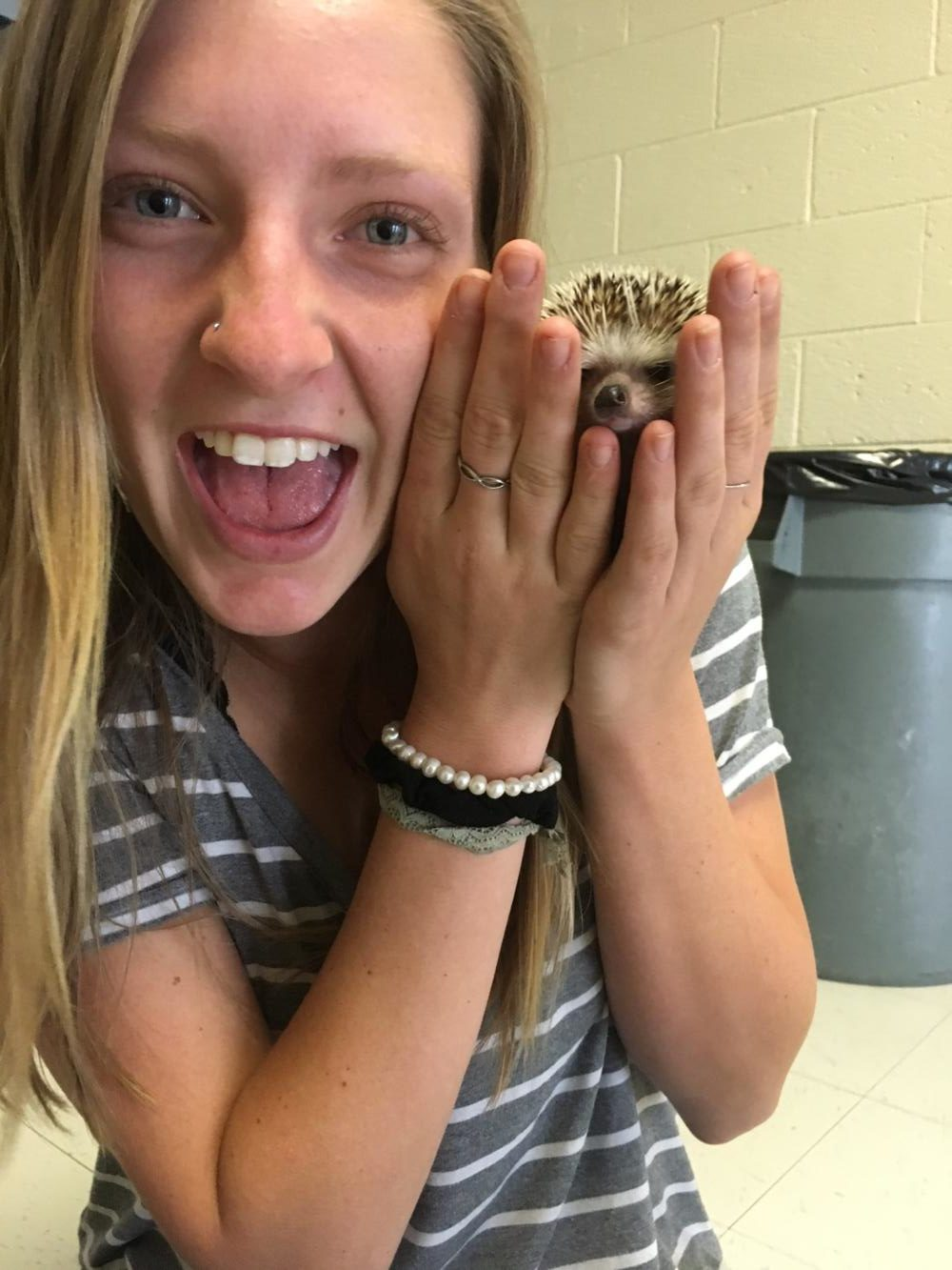 Samantha Valtin Plays with a Hedgehog Before Lax Practice