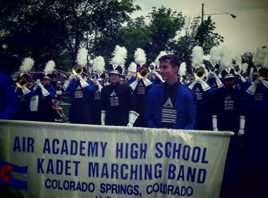 The Air Academy Marching Band playing at the Blossom Festival on May 6, we won first place in percussion, guard, and overall