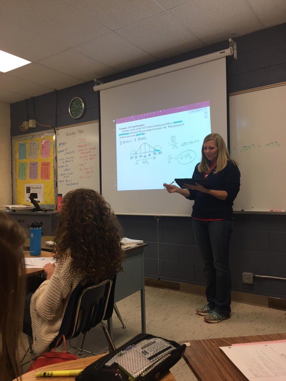 Mrs. Ublehouer teaching statistics.