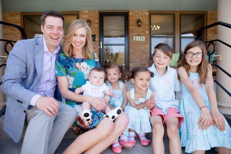 The Bender family including (from left to right) Zack, Jenny, Rutledge, Poppy, Millie, Rockwell, and Nola Bender.