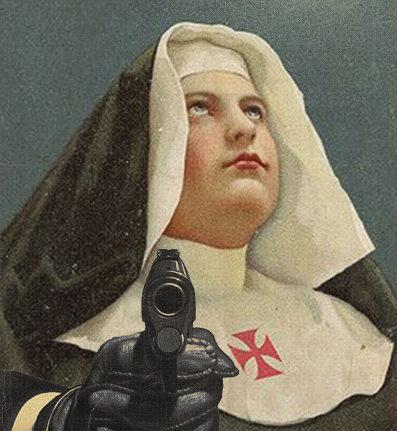 A nun with a gun. Taken under the creative commons license