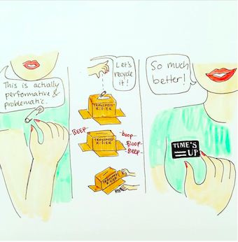 Art about the Times Up Initiative, done by @drawingsfromahat on Instagram.