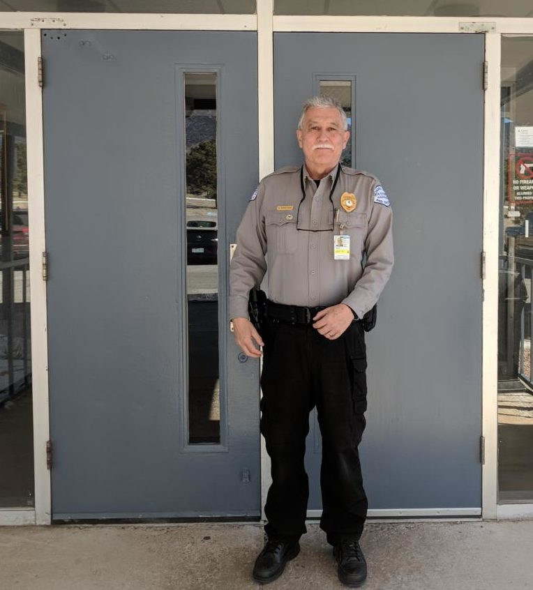 Security Officer, Carlos Montoya, guarding the front of AAHS.