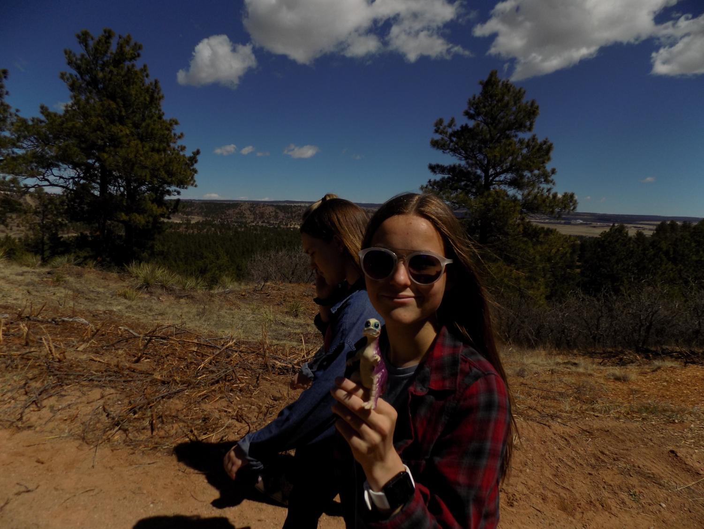 Tatum and her dinosaur.