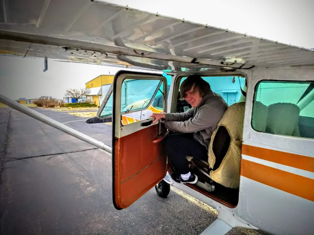 Sophomore Ryan Flat flies an airplane.