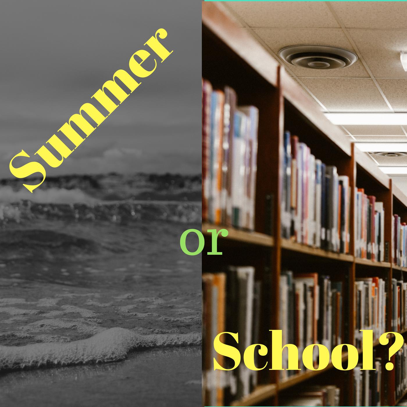 A clash of a summer image and a school image. Photos by Despo Potamou and Priscilla Du PreezonUnsplash.