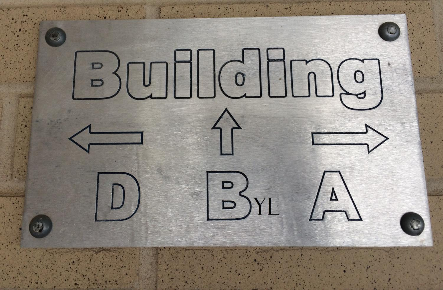 Directional sign to B building pre-evolution to a prettier version.