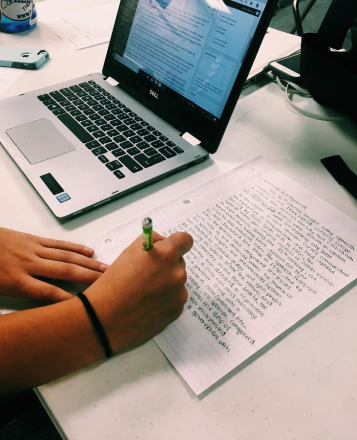Sophomore+Katelyn+Lark+works+diligently+at+her+assignment.