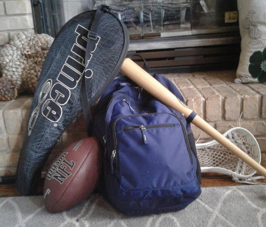 An image containing sports equipment. Students have to be careful to not let athletics overtake their academics!