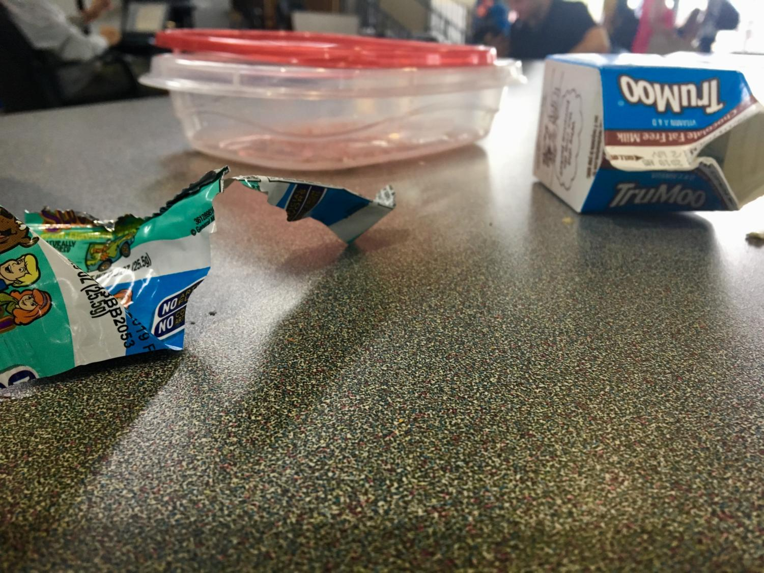 A mess is left on the table during lunch.
