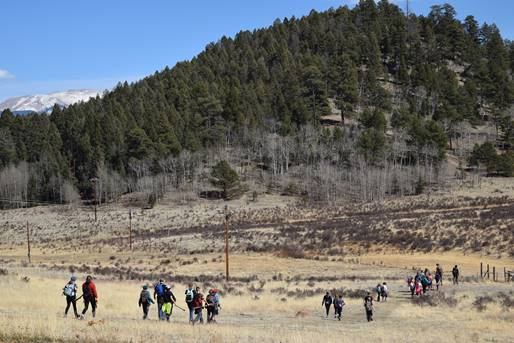 Middle School children hiking through High Trails park.