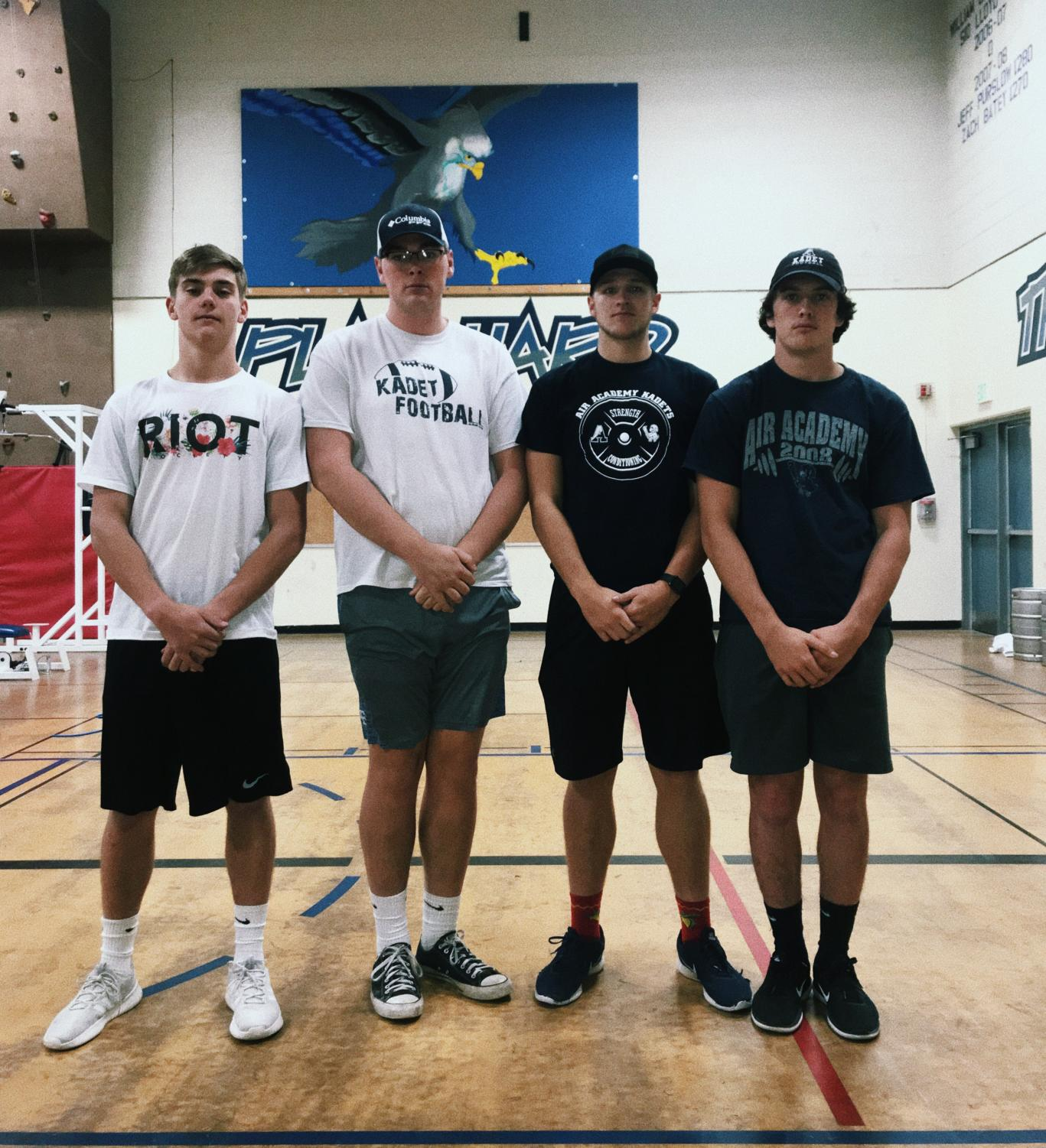 Varsity football players in the S4 weights class. Left to right: Aiden Diller, Josh Luden, Cole Eck, Kyle Pope
