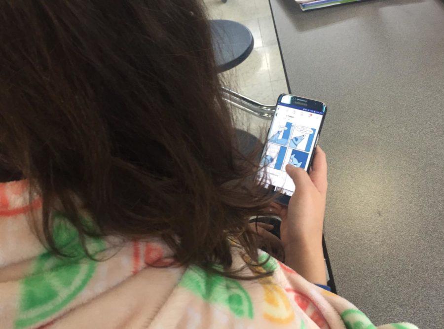 Senior Christina Eisnor spends her free time on her beloved Samsung phone.