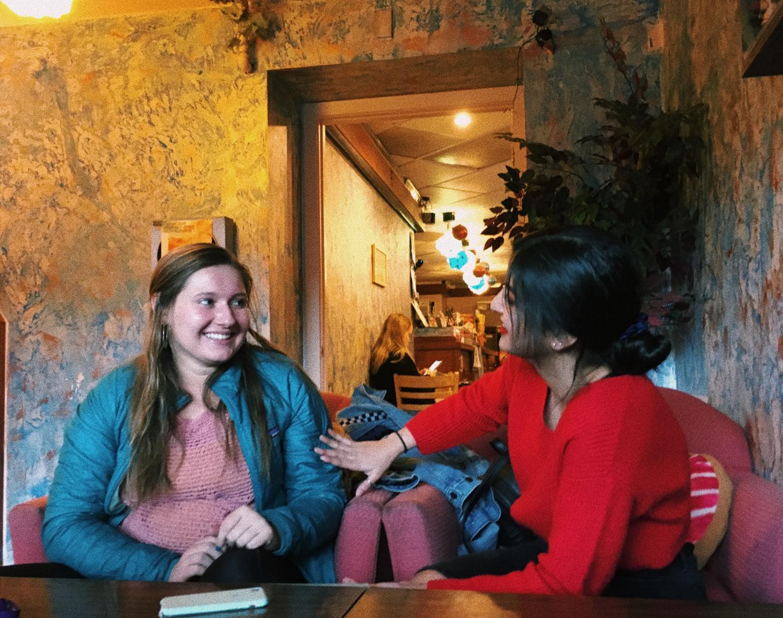 Juniors Acacia Ryska and Parmida Mahdavi enjoying coffee, friends and conversations