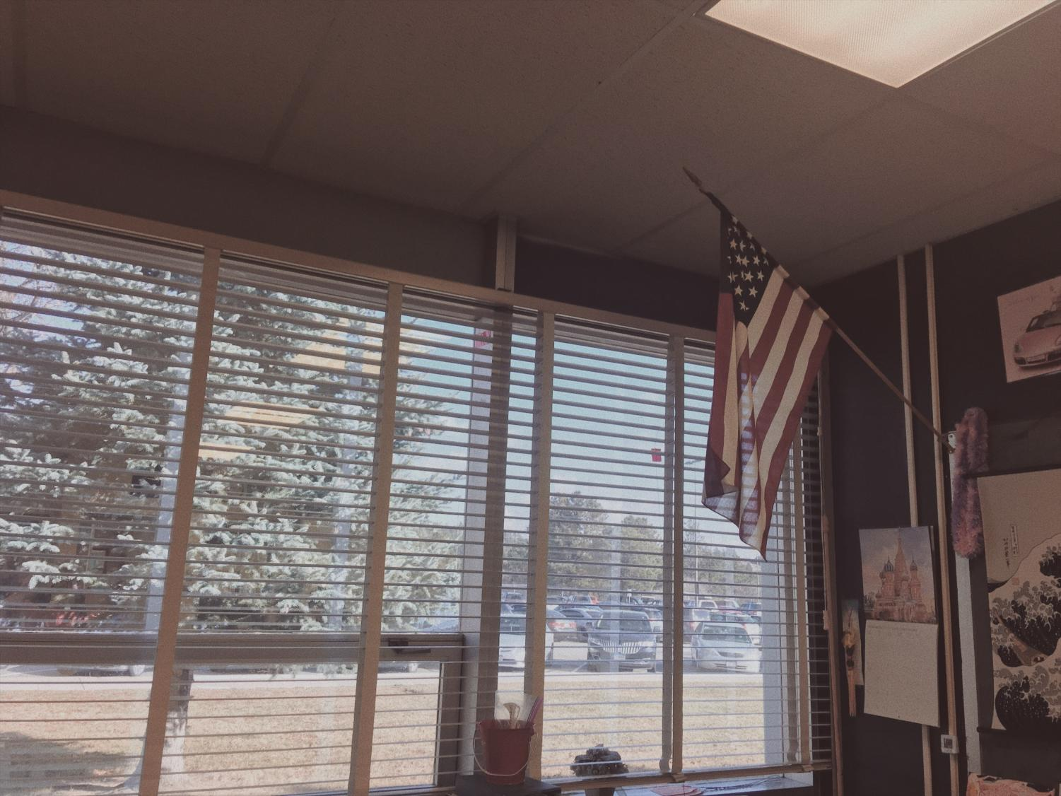 An American flag located in Mrs. Sorensen's room.