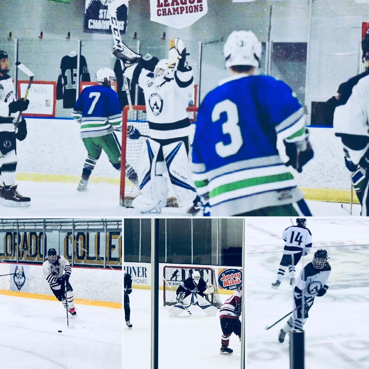 AAHS boys hockey team giving their all on the ice. Photos taken by: Jenilyn Grebe and Kaelyn Wheeler.