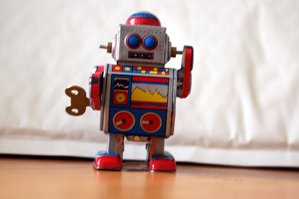 The tin robot is classic to be sure. Image courtesy of andreavallejos, Flickr.