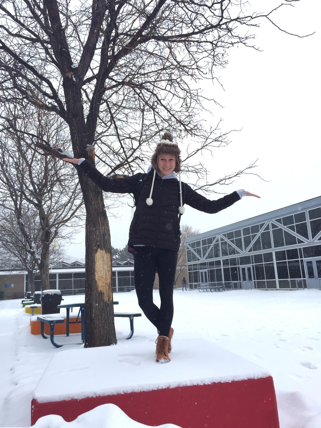 Senior Aleks Olesiak enjoys the winter weather.