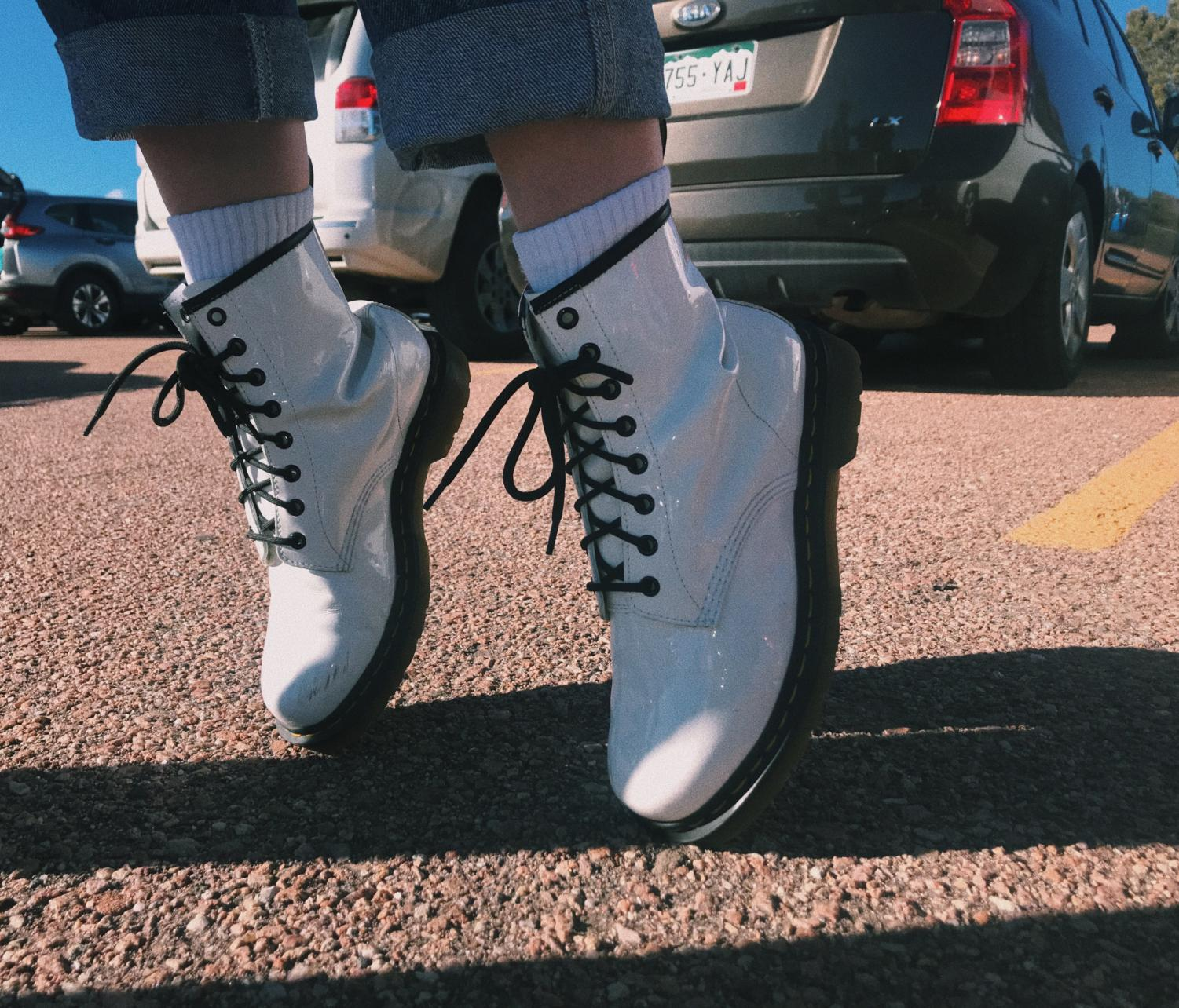 Sohomore Pearl Yocum sports her $115 White Doc Martens with some signature Michael Jackson poses