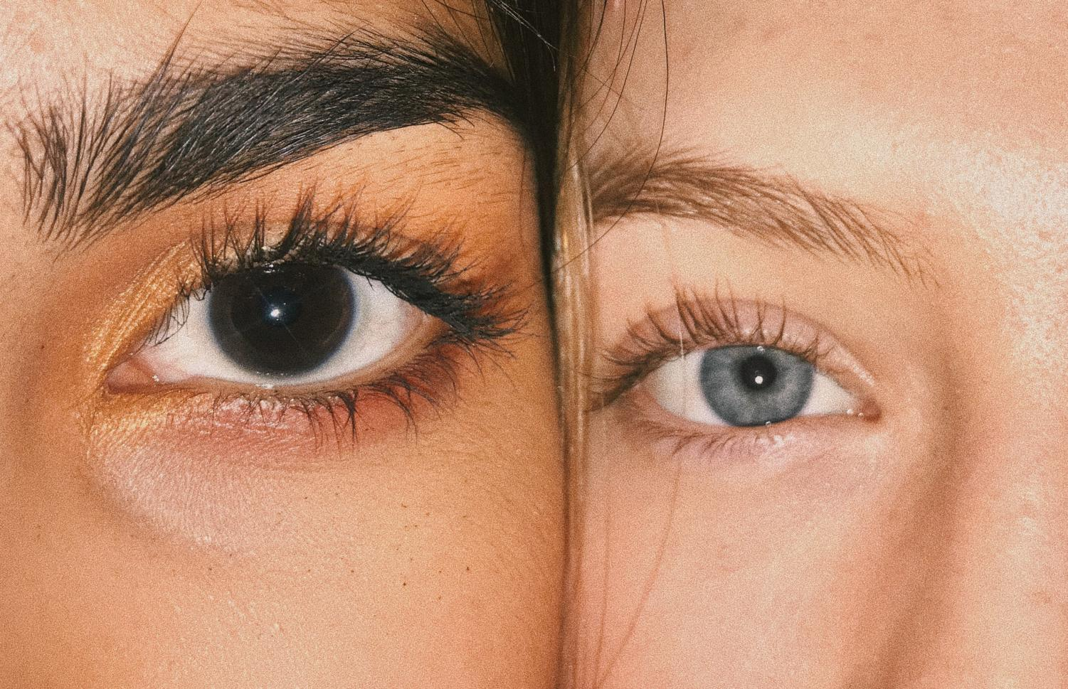Middle Eastern junior Parmida Mahdavi and Caucasian junior Maizie Daye pose next to each other. Though they have different skin and eye color, they see the same world.
