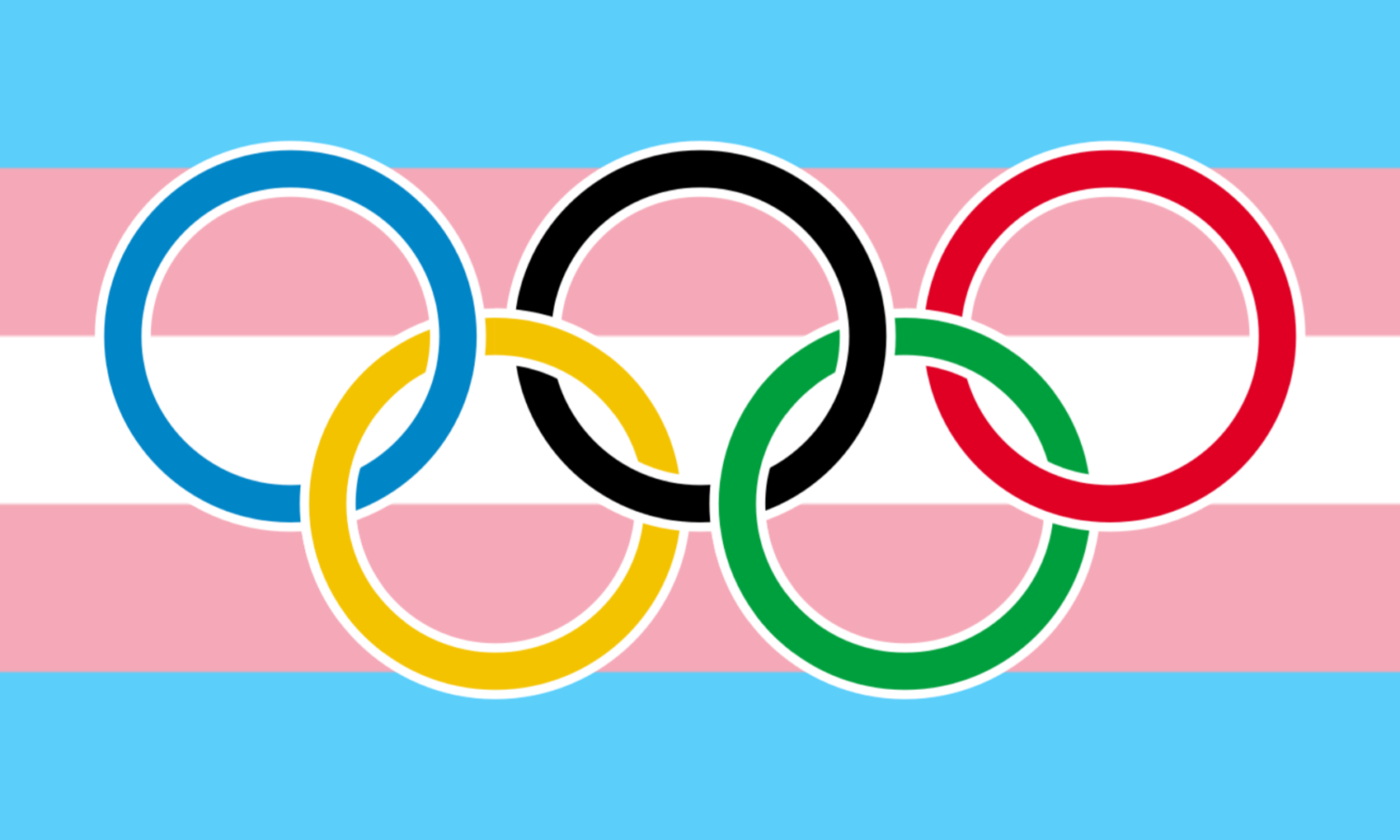 What are your thoughts on this controversy? Both the transgender flag and Olympic rings were labeled for reuse from Wikimedia Commons.