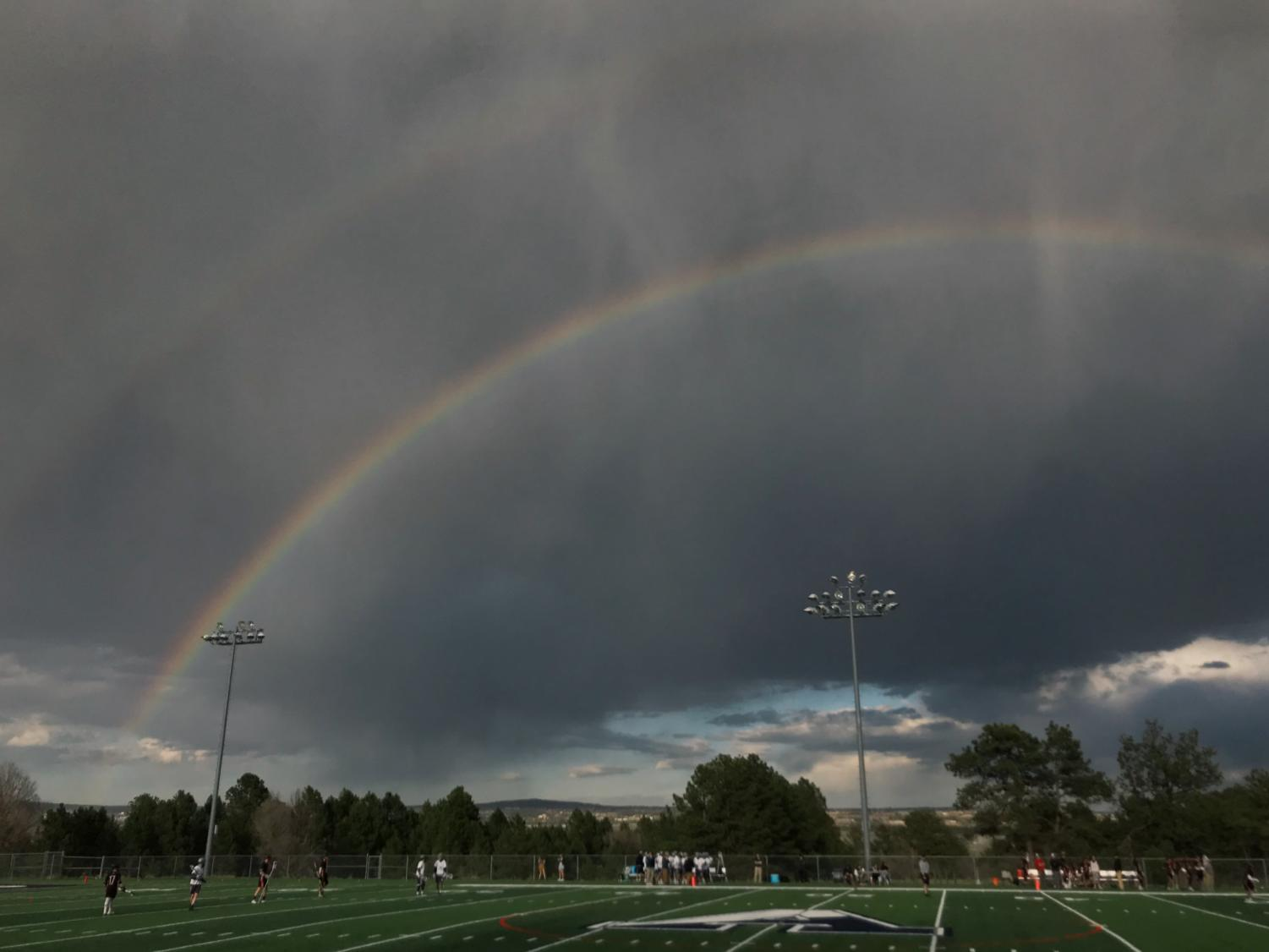 A double rainbow appears after light rain at the Boys Lacrosse game on April 24th.